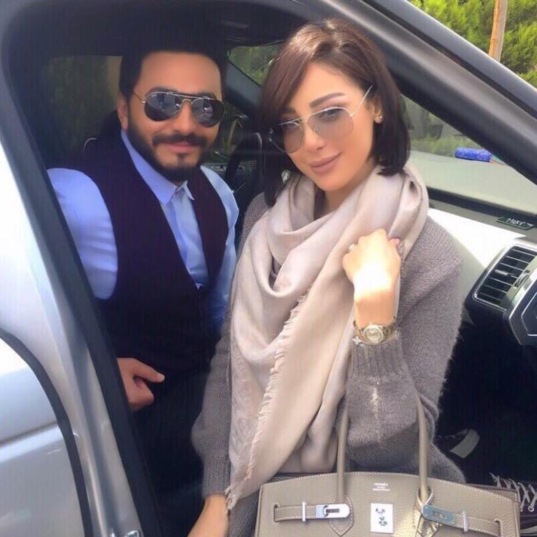 تامر حسني وزوجته بسمة