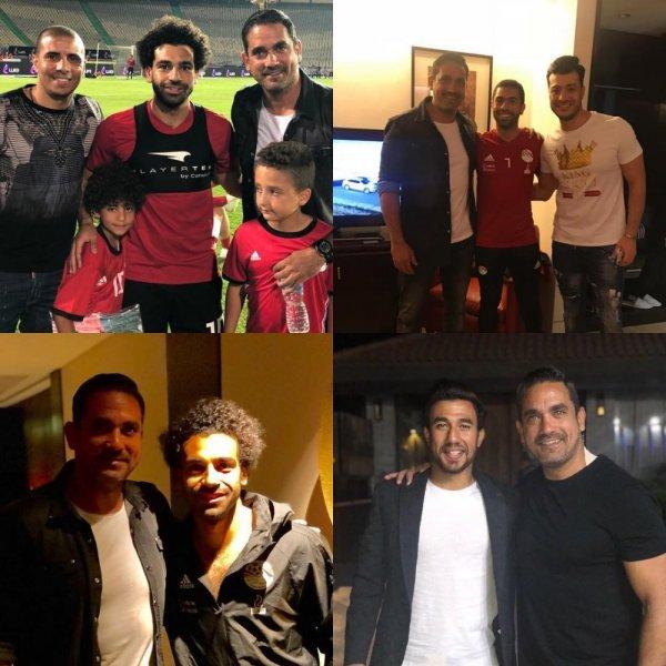 أمير كرارة مع لاعبي المنتخب المصري